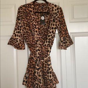Boohoo Cheetah Print Romper NWT